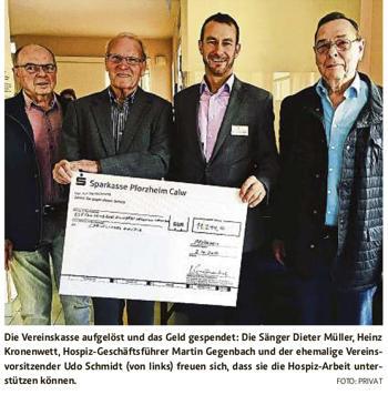 Sängerkranz Weißenstein spendet Vereinsvermögen